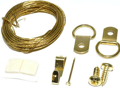 Brass Single D Ring Picture Frame Hanging Screws Wire Hook Pin Pad Canvas Kit