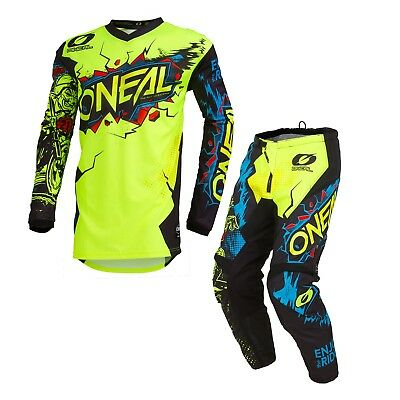 Oneal 2019 Element KIDS Villain MX Motorbike Jersey and Pants Set NEON