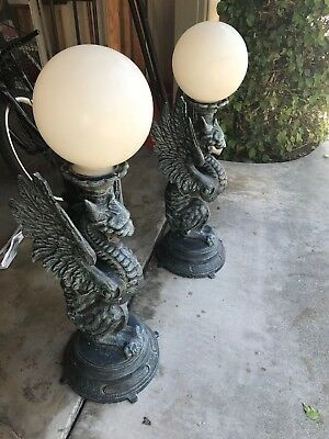 Gargoyle Dragon Wing Outdoor Sconce Standing Light Fixture Antique Vintage Style
