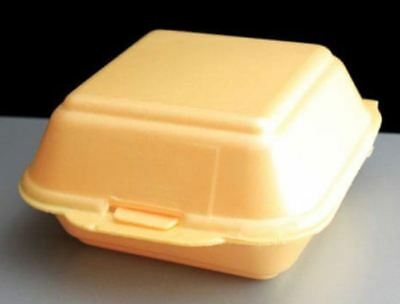 HB7 SMALL Food Take Away BURGER Foam BOX polystyrene Disposable CONTAINERS x 125
