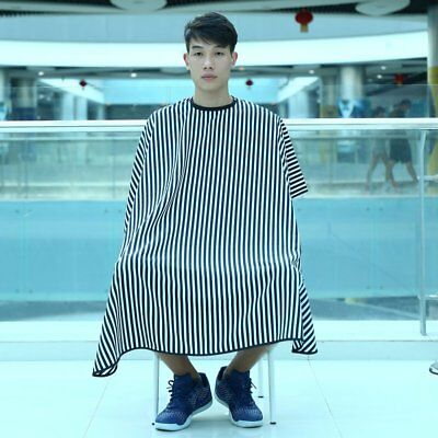 Waterproof Cutting Hair Cloth Salon Barber Gown Cape Hair Tool Stripe Pattern D