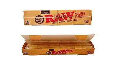Raw Classic Natural Unrefined 1 1/4 Pre-Rolled Rolling Paper Cones 32 Per Box