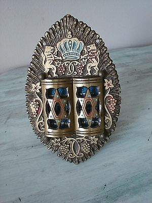 """Vintage Brass By Hen Holon Stands 4 1/2""""  Hebrew Ten Commandments Made In Israel"""