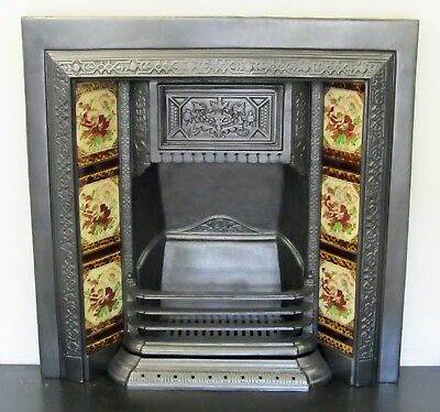 Victorian Style Cast Iron Tiled Insert Fireplace with Original Tiles