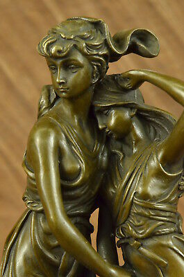 Signed Moreau Young Lady  with Daugther Bronze Sculpture Statue Figurine Figure