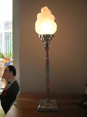 Wmf Art Deco Table Lamp With Flame Shade