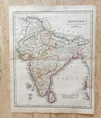 ANTIQUE HAND COLOURED MAP OF HINDOSTAN by RUSSELL AND SONS. c 1820 INDIA, NEPAL