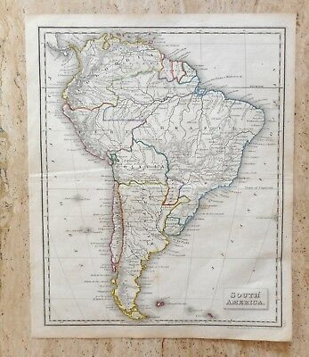 ANTIQUE HAND COLOURED MAP OF SOUTH AMERICA by RUSSELL AND SONS. c 1820