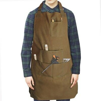 Pro Heavy Duty Waxed Canvas Apron Barber Butcher Artist Chef Cooking Unisex