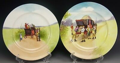 "Pair Of Royal Doulton Coaching Days Bone Blue Sky 8"" Cabinet Plates (A)"