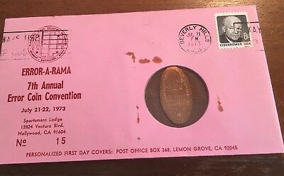 1973 Error A Rama 7th Annual Coin Convention 1973 Elongated Penny NECA Cover #15
