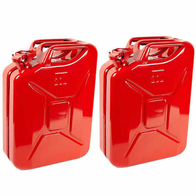 2x 20L Red Metal Jerry Can Fuel Petrol Diesel Oil Containers Canister Army 4x4