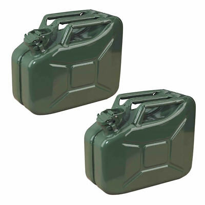 2x 10L Green Metal Jerry Can Fuel Petrol Diesel Oil Containers Canister Army 4x4