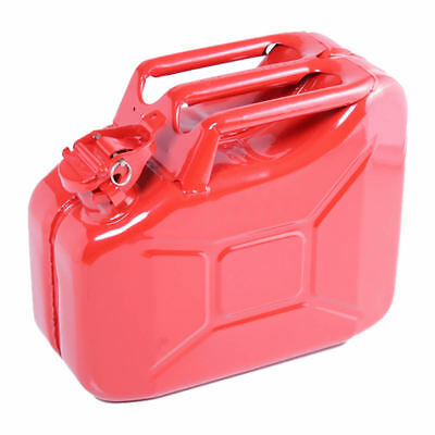 10L Red Metal Jerry Can Fuel Petrol Diesel Oil Containers Canister Army 4x4
