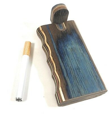 "4"" Colorful Wooden Tobacco Dugout Set with Pipe Easy Grip (3"" Metal One Hitter)"