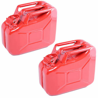 2x 10L Red Metal Jerry Can Fuel Petrol Diesel Oil Containers Canister Army 4x4