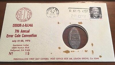 '73 Error A Rama 7th Annual Coin Convention 1968 Elongated Dime NECA Cover #15