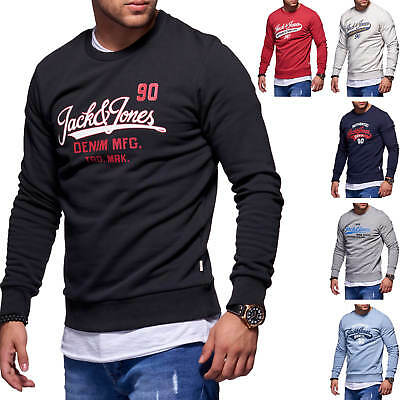 Jack   Jones Herren Sweatshirt O-Neck Label Print Langarmshirt Herrenshirt  Shirt 0de792e169