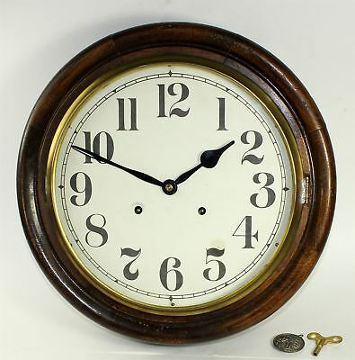 VINTAGE OAK GALLERY WALL CLOCK - PARTS or REPAIR - LL344