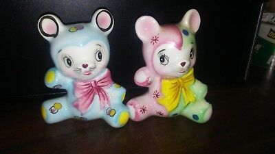 Vintage 1950's Colorful Hand Painted Porcelain Teddy Bear Shakers - Japan