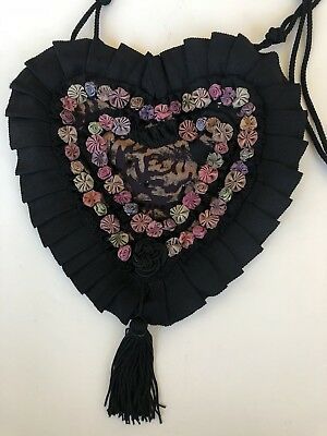 Vintage Chimaki Lace & Flowers Crossbody Heart Made In Japan
