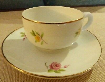 Vintage Floral Demitasse Tea Cup and Mismatched Saucer - Arabia Suomi Finlandia