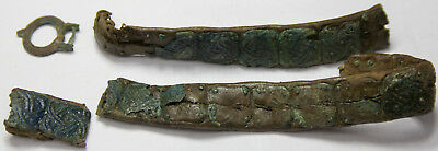Ancient Viking leather belt with lining of bronze.