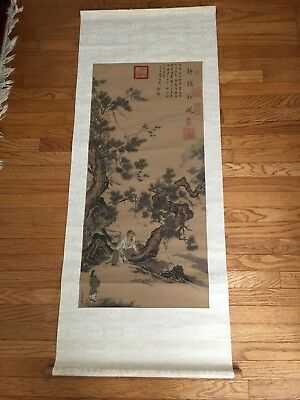 Vintage Chinese Scroll Painting Reproduction Wall Art  Ma Lin