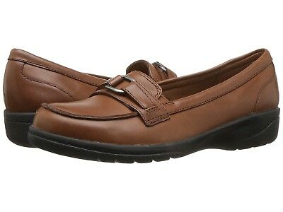 Clarks CHEYN MARIE Womens Brown Leather 30376 Slip On Comfort Shoes