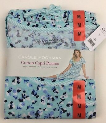 NEW Womens CAROLE HOCHMAN Cotton Capri 2 Piece Pajama Short Sleeve M Medium Blue