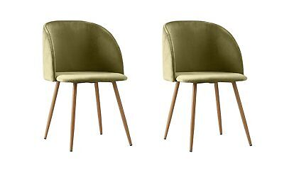2 Piece Mid-Century Velvet Accent Living Room Chair Upholstered Club Dining...