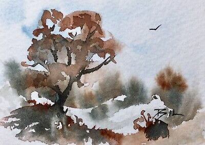 ACEO Original Art Watercolour Painting by Bill Lupton  - Winter and Cold