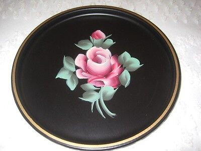Pink Roses Vintage 1960s French Country Tole Metal Dresser Jewelry Earring Tray