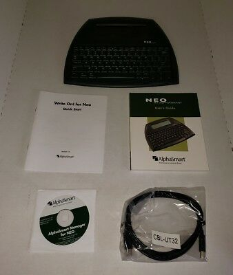 Neo 2 Alphasmart Word Processer Keyboard By Renaissance with Cable Manual CD +