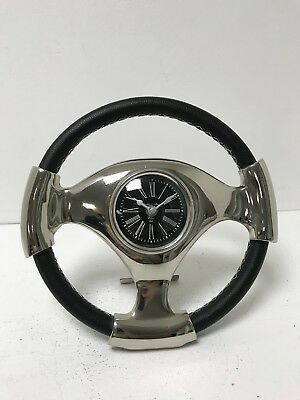 Small Steering Wheel Metal Black Leather Mantle Clock Silver Modern Home Decor