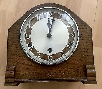 Vintage Wooden Mantle Westminster Chiming Clock With Pendulum For Spares/repair