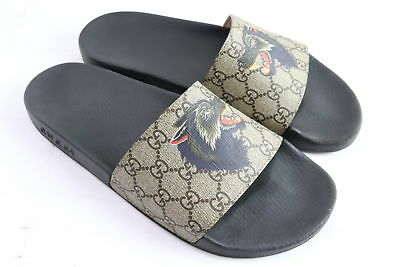 Gucci GG Supreme Wolf Detail Print Leather Slide Sandals Size 11 MSRP $375