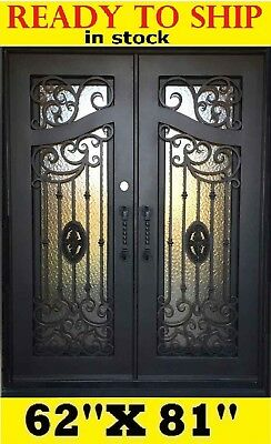 Wrought Iron Entry Doors With Tempered Glass 62''x81'' Dgd1080
