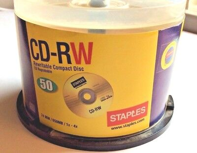 Staples CD-RW rewritable CD 74 min. 650 MB partial open container of 36