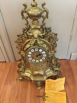 Vintage Louis XIV Rococo gold gilt Franz Hermle French Art Clock imperial