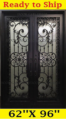 Wrought Iron Front Entry Doors With Tempered Glass 62''x96'' Dgd1201