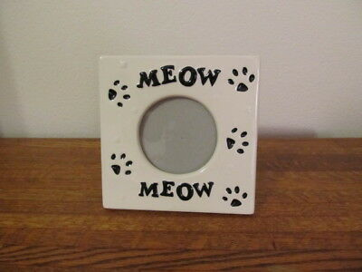 """Ceramic """"MEOW""""  Cat Photo Picture Frame White with Black Paw Prints"""