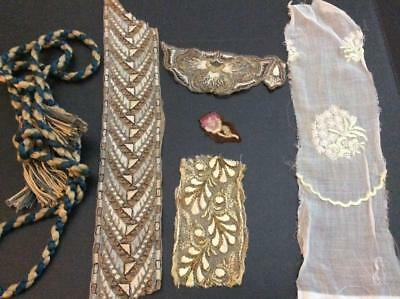 Lot Antique Handmade Embroidery Lace, Trim, Applique, Salvage, Some Metal Thread