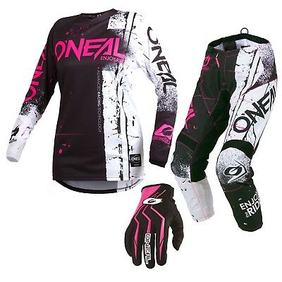 Oneal 2019 GIRLS Element Shred MX Motorbike Jersey Pants and Gloves PINK
