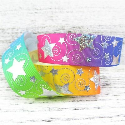 """Holographic stars on rainbow ribbon 25mm 1"""" wide 2 metres"""