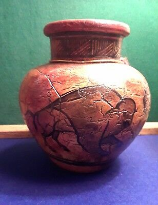 Southwestern Pottery Art Handmade Hand painted with Buffalo, signed by Artist