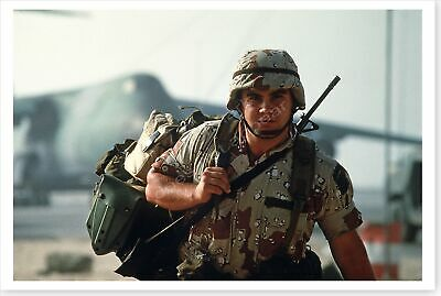 A Soldier With Gear Arriving In Saudi Arabia Operation Desert Shield 8x12 Photo