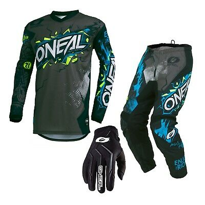 Oneal 2019 KIDS Element Villain MX Motorbike Jersey Pants and Gloves GREY