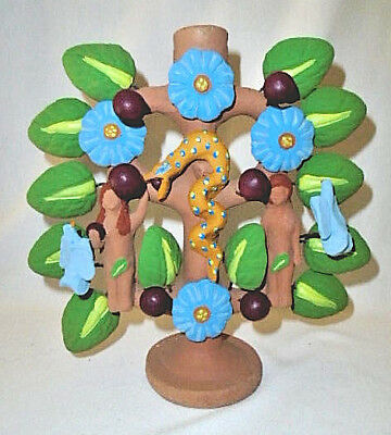 Tree Of Life Adam & Eve Garden Eden Snake Candle Holder Mexican Folk Art RARE