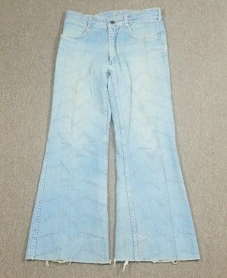 Vtg JC Penney's Designer Collection BELL BOTTOMS Textured Distressed Jeans 30x28